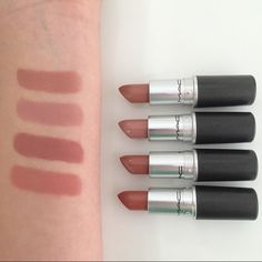 "MAC Lipsticks// From top to bottom: ""Honey Love"", ""Blankety"", ""Velvet Teddy"" and "" Kinda Sexy""."