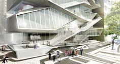 Uma das relações do prédio com o entorno se dá na forma como o calçadão invade o museu