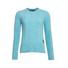 Superdry Cable Crew Jumper (€62) ❤ liked on Polyvore featuring tops, sweaters, light blue, women, blue top, cable knit sweater, light blue jumper, crew sweater and crew-neck sweaters
