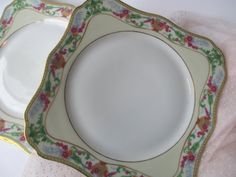 Vintage Czechoslovakia Pink Blue Floral Square by thechinagirl, $24.50