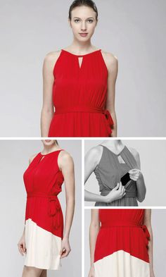 RED BEIGE COLORBLOCK Nursing Dress Colourblock by BESLOV on Etsy