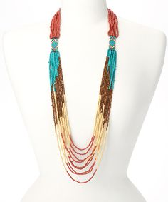 Look at this #zulilyfind! Turquoise & Coral Glass Diamond Bead Necklace by ZAD #zulilyfinds