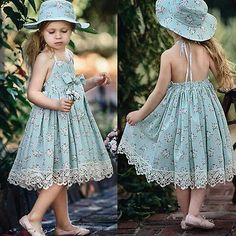 Cute Baby Kids Girls Lace Sleeveless Bowknot Princess Party Summer Floral Dress | eBay