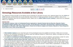 Genealogy Resources at Texas State Library and Archives Commission https://www.tsl.state.tx.us/arc/genfirst.html