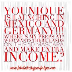 Younique will be launching in #mexico and #germany this year! So exciting! Who loves #makeup or is looking for a new #business #opportunity? Let's connect! www.fabulashesbyjenniferlynn.com #makeupaddict #sisterhood #mascara #beyourownboss #makeachange
