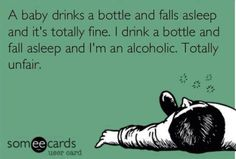 funny ecards for adults | Funny ecard - A baby drinks a bottle... | Funny Pictures, Funny jokes ... |   See More about wine humor, beer humor and bottles.