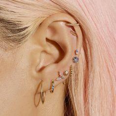 Pretty Ear Piercings, Ear Peircings, Types Of Ear Piercings, Multiple Ear Piercings, Tongue Piercings, Cartilage Piercings, Different Types Of Piercings, Unique Piercings, Ear Jewelry