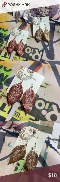 """Metallic leaf earrings great gifting idea! Nwt Metallic leaf earrings great gifting idea! Nwt. Each color sold separately. Can bundle for deeper discount. Comes with cute fustian pink bag for gifting. Metal. Leaf is 1 1/2"""" long. pomina Jewelry Earrings"""