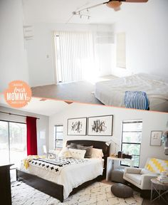 5 Tips to Cozy Up a Rental Space - See the before and after makeover on FreshMommyBlog.com! We've moved often and have been renting, and learned a few things along the way to quickly make the home you're in a comfortable and inviting place.   Home, Decor, Bedroom, Master Bedroom