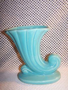 Vintage McCoy Pottery Vase Teal Blue Flower Vase Marked USA | eBay