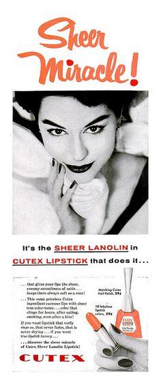 CUTEX | Sheer Miracle | #vintage #beauty #advertisement