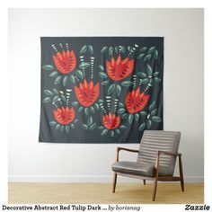 Decorative Abstract Red Tulip Dark Floral Pattern Wall Tapestry #tapestry #homedecor #decor #tulips #floral #spring #springdecor #zazzle