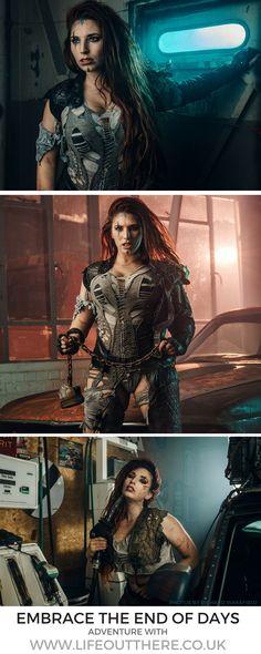 The further adventures of Faith Roswell… Badass Women Fashion, Mad Max Fashion, Warrior Fashion, Dystopian Fashion, Cyberpunk Fashion, Snail Costume, Mad Max Costume, Mujeres Tattoo, Wasteland Warrior