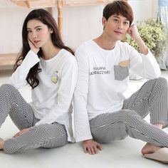 Spring Autumn Cotton Lovers Striped Pajamas Sets Women's Sleepwear Nightgowns Pijamas femme Pajamas Homewear Fashion Sleepwear