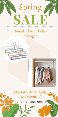 The revolutionary 9-in-1 Clothes Hanger is what you need! Enjoy a MESS-FREE and organized closet. Say hello to more closet space today! Smart Closet, Old Clothes, Closet Space, Spring Sale, Closet Organization, Clothing Accessories, Organizers, Clutter, New Outfits