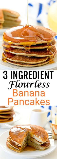 3 Ingredient Flourless Banana Pancakes. These gluten free pancakes are super easy!