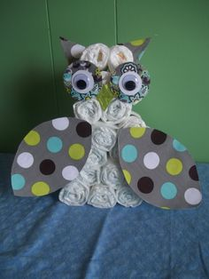 Owl Diaper cake baby shower cake! Cute for future sisters' babies =)