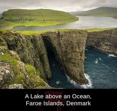 The impossible looking Lake Sorvagsvatn Faroe Islands [OC] x landscape Nature Photos