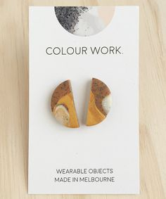Half Circle Stud Earrings - Marbled white granite, gold and chocolate (polymer clay) by colourwork on Etsy