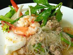 Glass Noodle Salad Recipes (Yum Woon Sen : ยำวุ้นเส้น) | Thai Food Recipes Menu, Thai Noodles, Thai Curry, How To Cook Thai Food