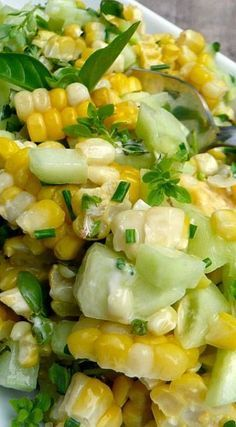 Basil Chive Cucumber & Corn Salad - just a note: Use Veganaise instead of Mayo to make it vegan and in my opinion even tastier. Basil Chive Cucumber & Corn Salad - just a note: Use Veganaise instead of Mayo to make it vegan and in my opinion even tastier. Cucumber Recipes, Veggie Recipes, Vegetarian Recipes, Cooking Recipes, Healthy Recipes, Recipes Dinner, Corn And Cucumber Salad Recipe, Dishes Recipes, Dinner Dishes