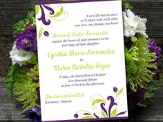 """Printable Wedding Invitation Template - Instant Download DIY Wedding Template - """"Florence"""" Eggplant Lime Printable Wedding Invitation Card by PaintTheDayDesigns on Etsy"""