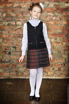Школьная форма / Сарафан для девочки, клетка шотландка, черный, сарафан школьный, школьная форма