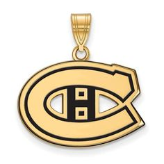 Sterling Silver w/GP NHL LogoArt Montreal Canadiens Medium Enl Pendant