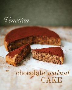 You'll fall in love with this simple chocolate walnut cake from Marcella Hazan Dark Chocolate Recipes, Delicious Chocolate, Chocolate Desserts, Delicious Desserts, Dessert Recipes, Chocolates, Marcella Hazan, Baking Bad, Walnut Cake