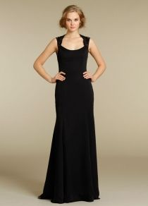 Black Chiffon Long Bridesmaid Dress with Lace Shoulder Straps--This is the destination if you want to find the best  Lace bridesmaid dress collection!