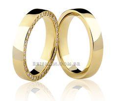 Par de Alianças Milão ♥ Alianças Casamento e Noivado em Ouro 18 K Reisman…