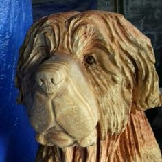 Simple Wood Carving, Newfoundland Dogs, Chainsaw Carvings, Statues, Hobbies, Lion Sculpture, Woodworking, Ideas, Art