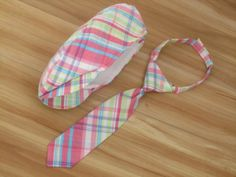 Easter Newsboy Hat / Necktie Pink Blue Green plaid bowtie / Hat for Toddler Baby / Ringbearer Outfit, Cake smash Boy, Flat Hat Easter on Etsy, $51.00