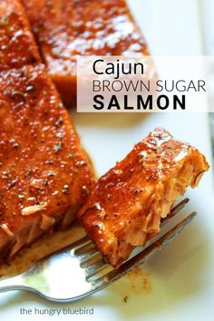 Cajun Brown Sugar Salmon ~ sweet and spicy glazed salmon, so easy and on the table in 20 minutes! Cajun Brown Sugar Salmon ~ sweet and spicy glazed salmon, so easy and on the table in 20 minutes! Perfect for weeknights and getting your healthy fix on. Salmon Dishes, Seafood Dishes, Seafood Recipes, Gourmet Recipes, Baking Recipes, Chicken Recipes, Fish Recipes Cajun, Drink Recipes, Healthy Fish Recipes
