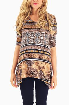 Brown-Printed-3/4-Sleeve-Maternity-Top #maternity #fashion #cutematernityclothing #cutematernitytops #affordablematernityclothing #transitionalclothing