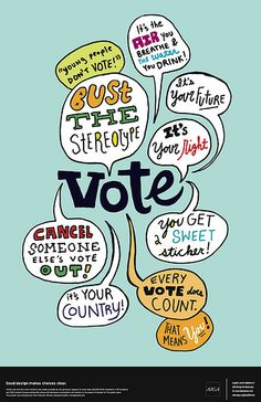 """AIGA """"Get Out the Vote"""" poster by Chris Piascik, via Flickr"""