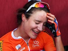 Marianne Vos was a picture of exhaustion and delight after winning the world road race title for the third time