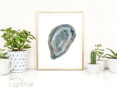 agate art, agate slice, agate slice art, mineral art, abstract agate, contemporary art, modern art, minimalist art, blue, gold, home decor by AmyLighthall