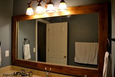 Rustic wood -- bathroom mirror re-do