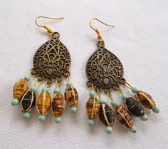 Banana Leaf Bead Earrings - Fair Trade Mzuribeads from Uganda - Handmade by Nomvula Crafts by NomvulaCrafts on Etsy