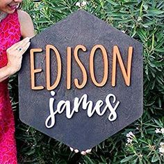 Hexagon Wood Sign Personalized Nursery Name Sign Baby Shower Gift Wall Art Personalized Sign Established Sign Wooden Signs Nursery Name, Nursery Signs, Nursery Room Decor, Nursery Ideas, Rustic Wood Signs, Wooden Name Signs, Decor Logo, Established Sign, Uppercase And Lowercase Letters