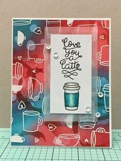 "Lawn Fawn - Love You a Latte _ sweet ""love you"" card with stamped and watercolor background by Monica at Monica's Craft Corner: Love you a Latte"