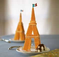 Eiffel tower made with wafer biscuits