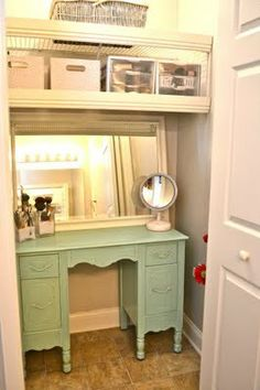 Such a great idea! turn your bathroom or bedroom closet into a little vanity/ extra storage with two shelves above and a small vanity w mirror over it! via Liz Marie: Bathroom Closet Re-Do… Closet Vanity, Closet Redo, Bathroom Closet, Closet Bedroom, Closet Ideas, Closet Space, Master Bedroom, Bedroom Nook, Bathroom Bath