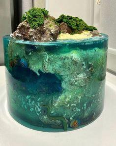 Beautiful Cakes, Amazing Cakes, Island Cake, Ocean Cakes, Ice Cake, Jelly Cake, Paradise Island, Creative Cakes, Cake Art