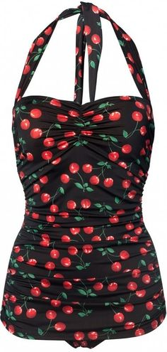 Esther Williams Swimwear - ESTHER WILLIAMS classic fifties one piece swimsuit in Cherry Black
