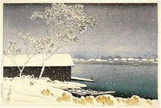 hanga gallery . . . torii gallery: Snow at Shirahige Bridge by Kawase Hasui
