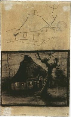 Two Studies of a Cottage - Vincent van Gogh . Created in Nuenen in April - May, Located at Van Gogh Museum Artist Van Gogh, Van Gogh Art, Art Van, Vincent Van Gogh, Van Gogh Drawings, Van Gogh Paintings, Monet, Gustav Klimt, Alphonse Mucha