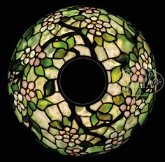 TIFFANY STUDIOS APPLE BLOSSOM TABLE LAMP.