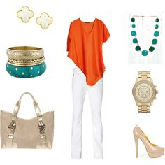 Coral, Gold, and Turquoise, created by curlygrl1212 on Polyvore